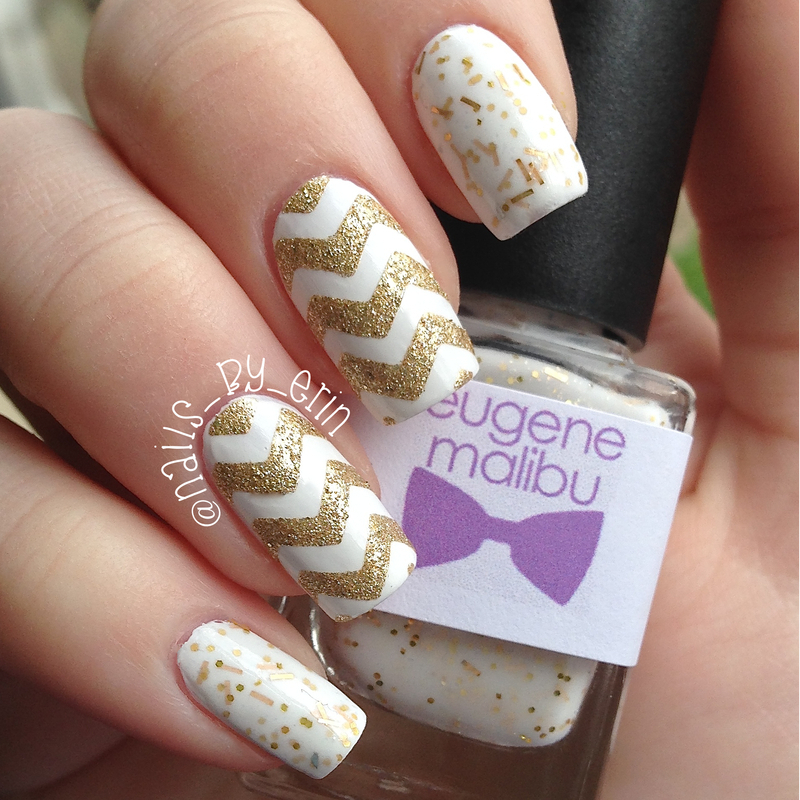 Gold and White Chevron Nails nail art by Erin - Nailpolis: Museum of ...