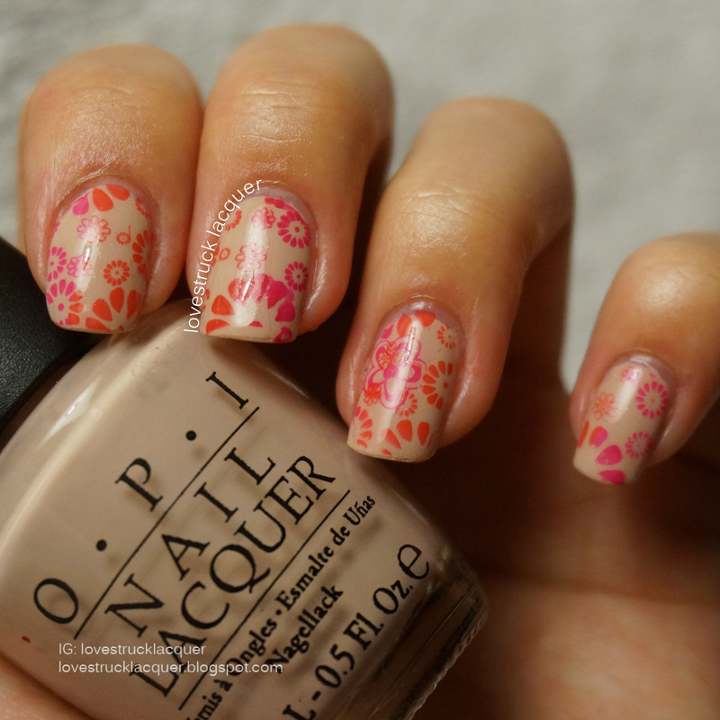 two tone floral stamping nail art by Stephanie L
