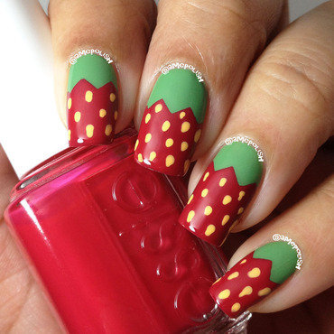 Strawberries nail art by Amber Connor