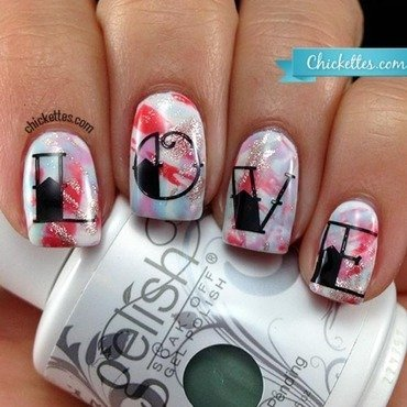 "Brustroke ""Love"" Nails nail art by Andrea Beight"