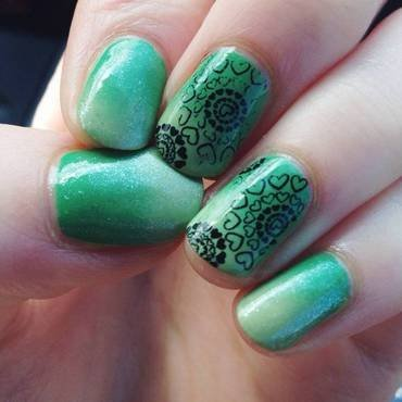 Heart Stamping + Green Gradient nail art by Anya Qiu