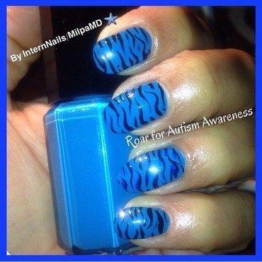Roar For Autism Awareness nail art by Milpa  InternNails