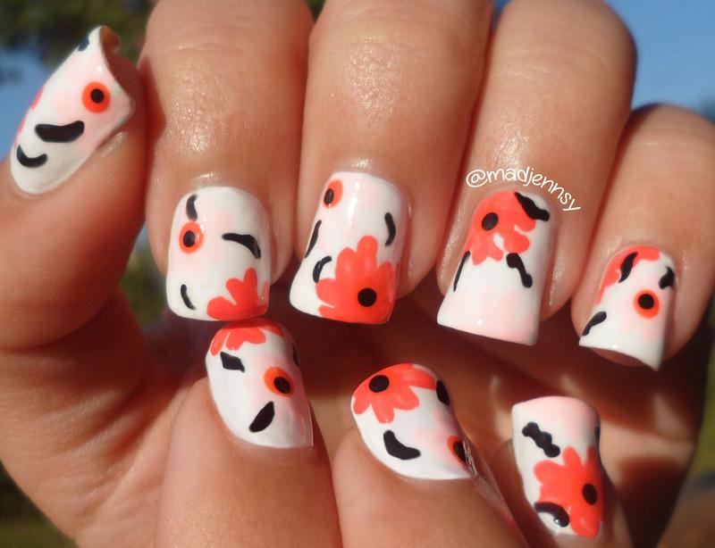 Marimekko Inspired Floral Nail Art  nail art by madjennsy Nail Art