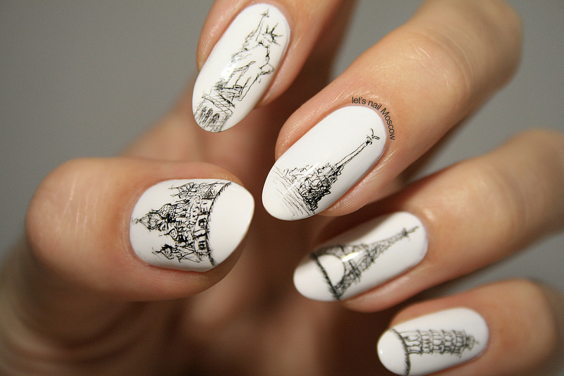architecture sketch nails (freehand) ;) nail art by Let's Nail Moscow