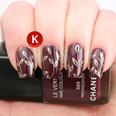Chanel Provocation with gold stamping nail art by Claire Kerr