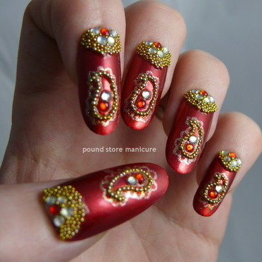 Bollywood Glam nail art by Pound Store Manicure