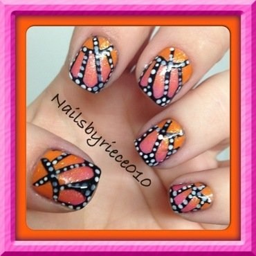 Butterfly Wings nail art by Riece