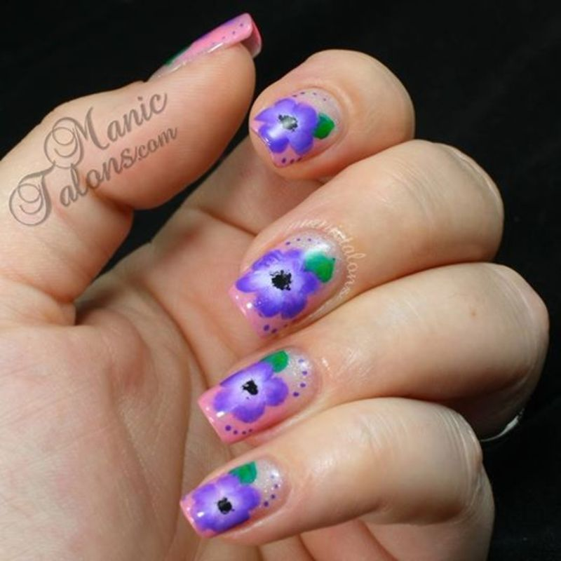 Purple One Stroke Flowers nail art by ManicTalons