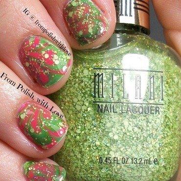 Watermelon Water Marble nail art by Dani