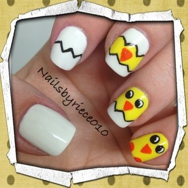 Hatching Chicks nail art by Riece