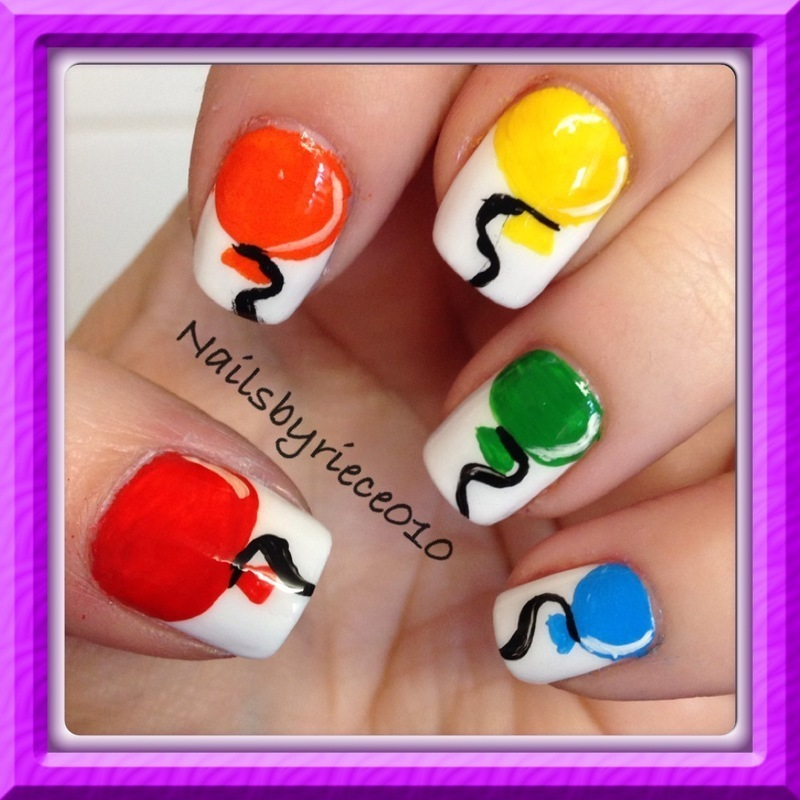 Balloons nail art by Riece