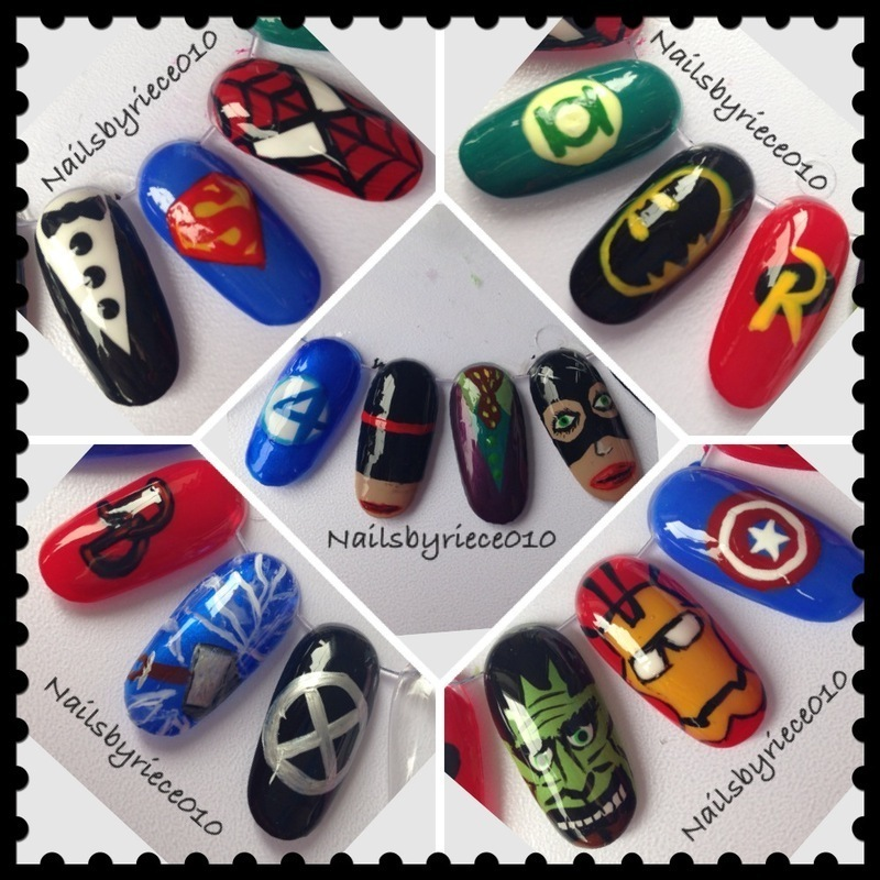 Superhero Nail Wheel nail art by Riece - Superhero Nail Wheel Nail Art By Riece - Nailpolis: Museum Of Nail Art