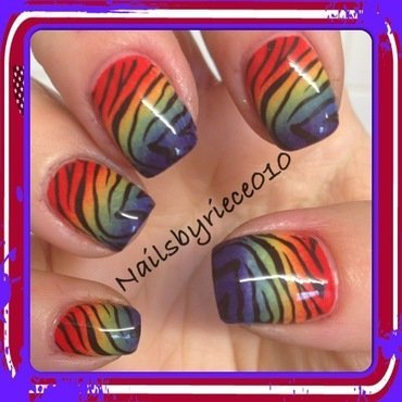 Rainbow Tiger nail art by Riece