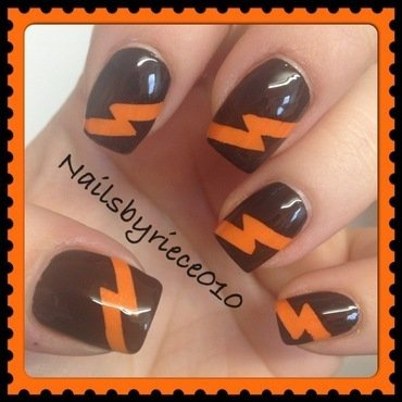 Lightning Bolts nail art by Riece