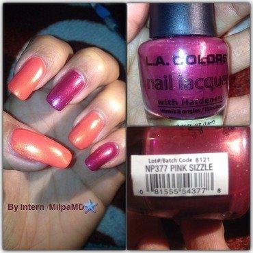 Pink Me Orange nail art by Milpa  InternNails