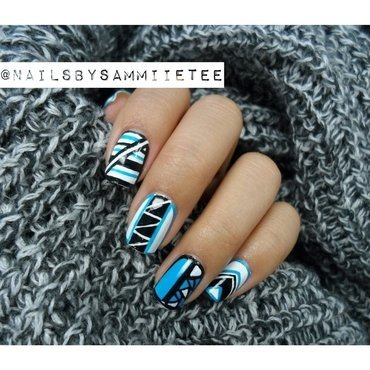 Black x White x Blue Graphic Nails nail art by NailsBySammiieTee