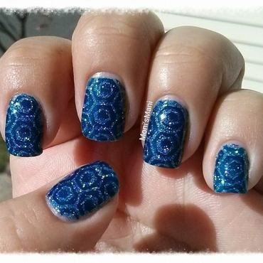 blue holo stamped nail art by Moni'sMani