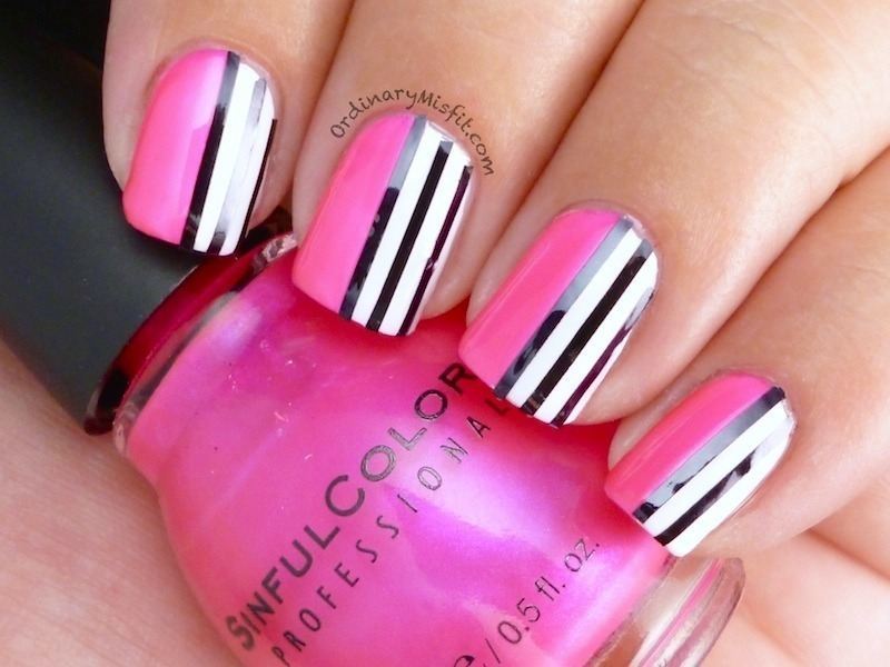 Solids & stripes nail art by Michelle