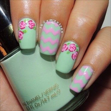 Chevron and Florals nail art by Amy
