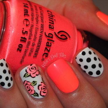 Spring Floral Polka Dot  nail art by Kelsie