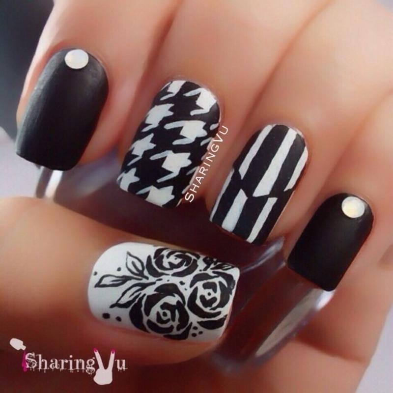 Black & White nail art by SharingVu