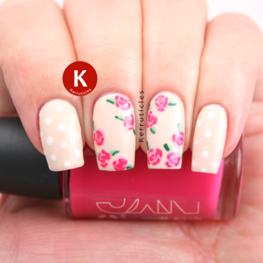 Pink roses on cream with polka dots ig thumb370f