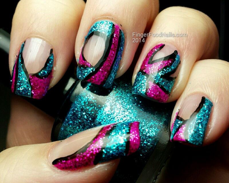 TPC April Glitter Bomb nail art by Sam