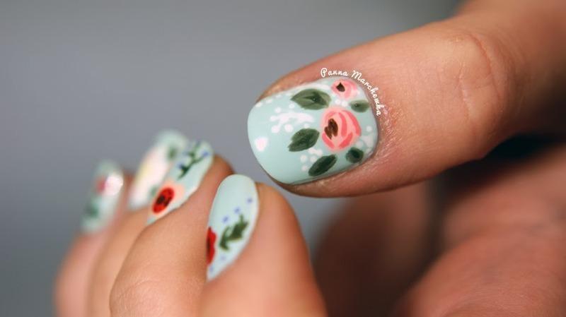 folk roses nail art by Panna Marchewka