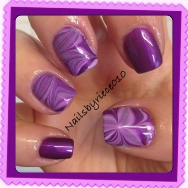 Purple Water Marble nail art by Riece