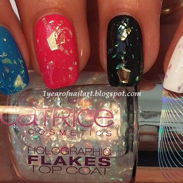 China Glaze Liquid Leather, Only You White French, China Glaze splish splash, Kiko 311, and Catrice Limited Edition Haute Future Holo Is The New Yolo (Holographic flakes topcoat) Swatch by Margriet Sijperda