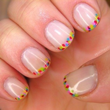 Colorful French Manicure nail art by Agni