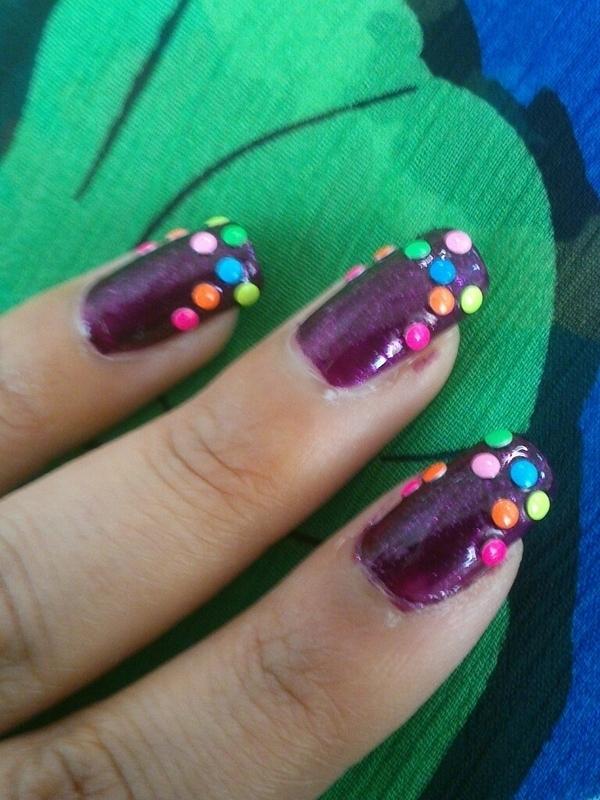 Colorful nail art nail art by Haniya Sajid