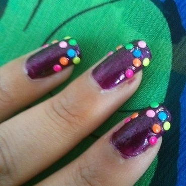 Colorful nail art nail art by Haniya Sajid