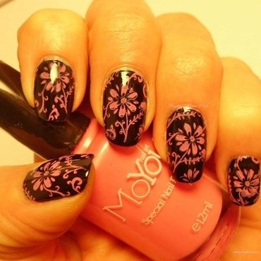 Pink Flowers nail art by Angelique Adams