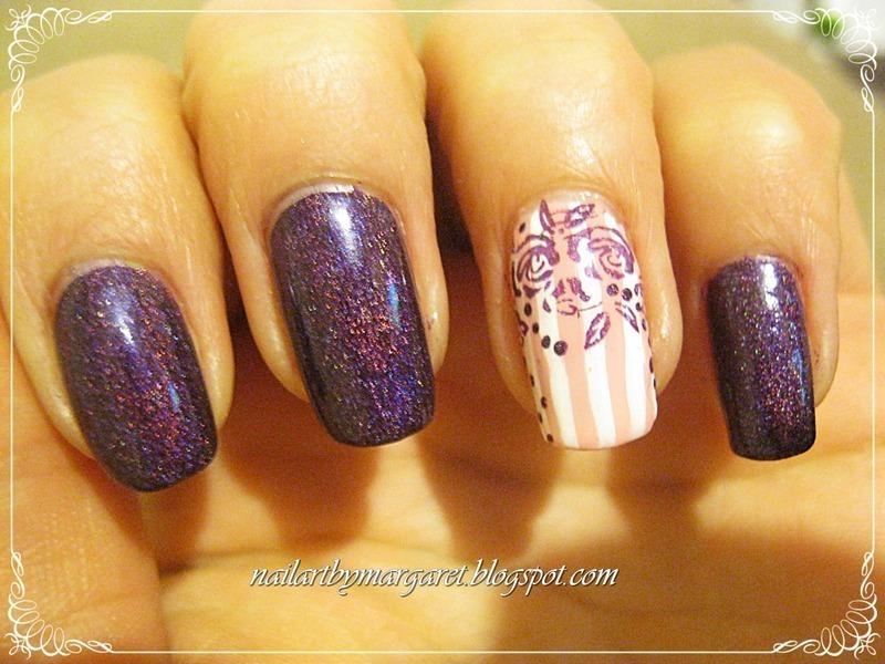 Figa z makiem i różami nail art by Margaret Nail Art