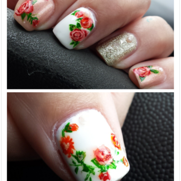 antique flowers nail art by Sarah Bellwood