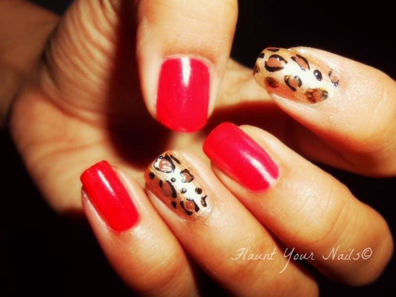 Classic Red Leopard Nails nail art by Vidula Kulkarni