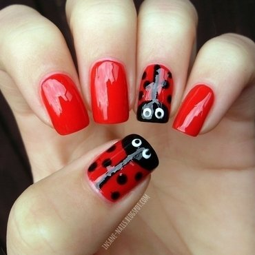 Ladybug nails nail art by Sanela