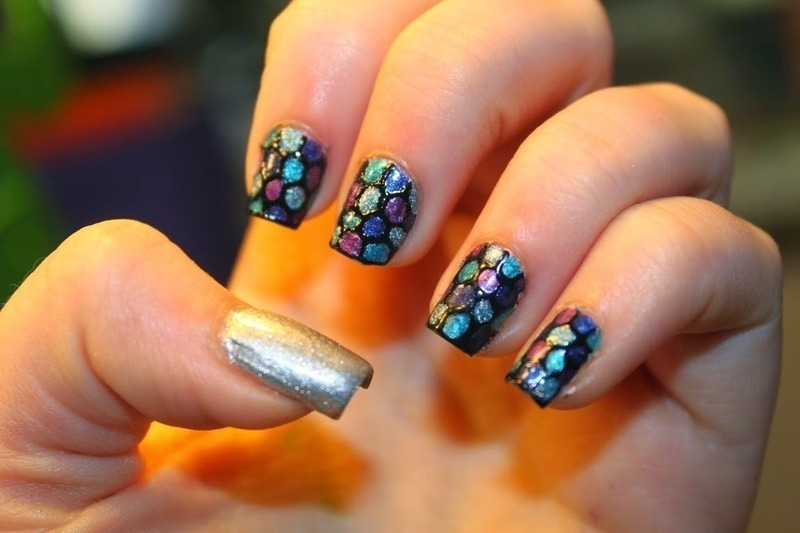 Rainbow Fish nail art by Elizabeth Hemingway