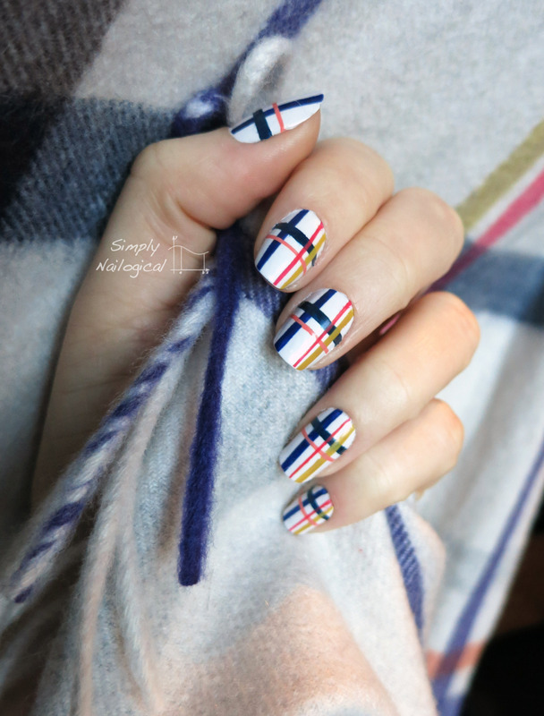 Coach plaid scarf inspired nail art by simplynailogical