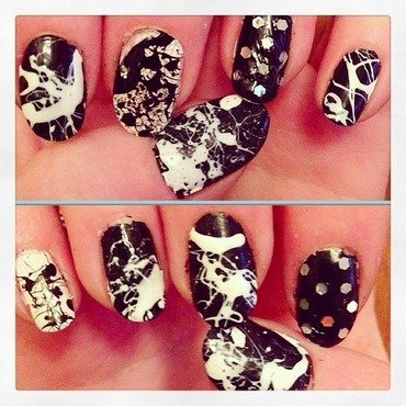 Splatter  nail art by Kathleen