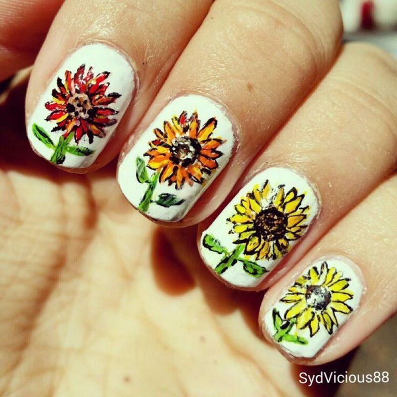 Sunflowers nail art by SydVicious