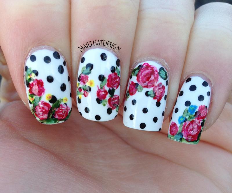 Polka dot roses  nail art by NailThatDesign
