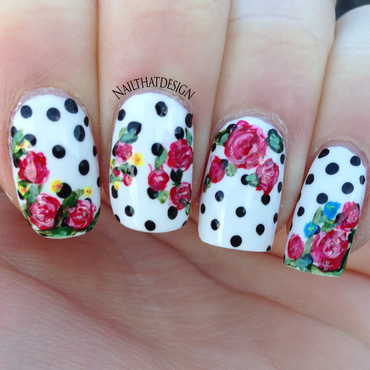 Polka dot roses  nail art by NailThatDesign