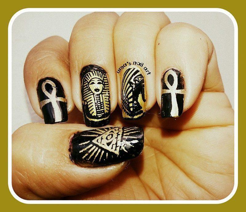 Egyption nails.. nail art by Uma mathur