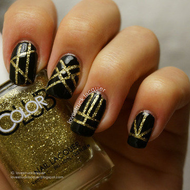 black and gold striping tape mani for #llglam nail art by Stephanie L