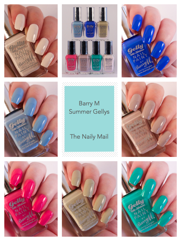 Barry M Coconut, Barry M Elderberry, Barry M Pink Punch, Barry M Olive, Barry M Kiwi, Barry M Almond, and Barry M Damson Swatch by The Naily Mail