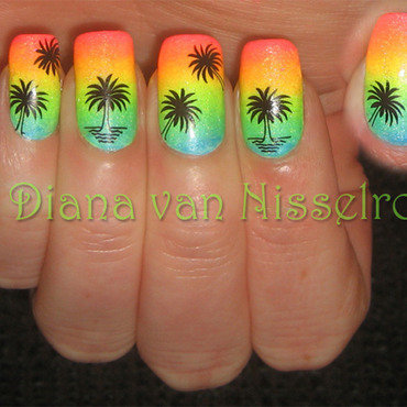 Neon palm trees nail art by Diana van Nisselroy