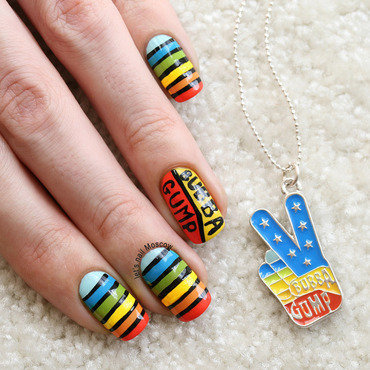 Forrest Gump inspired nails :) nail art by Let's Nail Moscow
