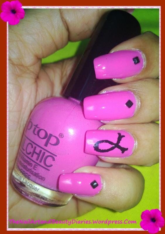 Breast Cancer Awareness Nail Art nail art by Setu Rohini